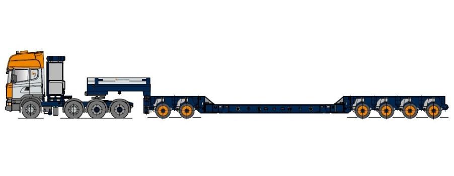 Naczepa typu Kesselbrücke z osiami modułowymi i wbudowanymi wspornikami