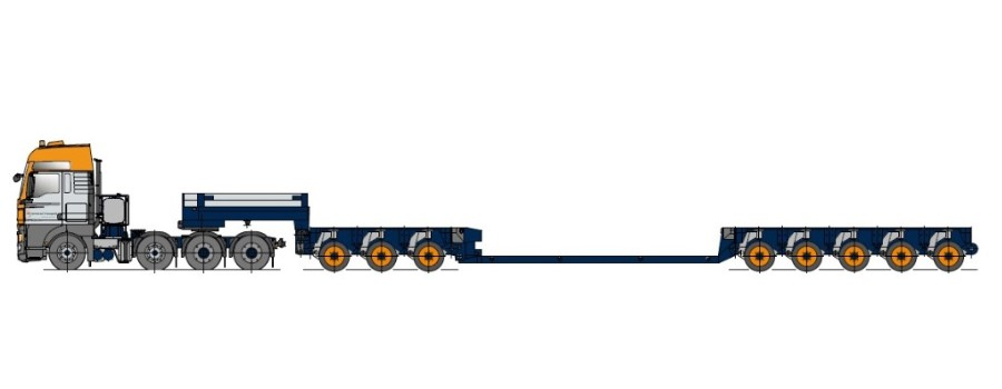 Naczepa typu Tiefbett z osiami modułowymi, teleskopowa