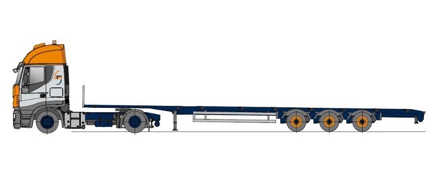 Naczepa typu Megasattel, wieloktrotnie teleskopowy