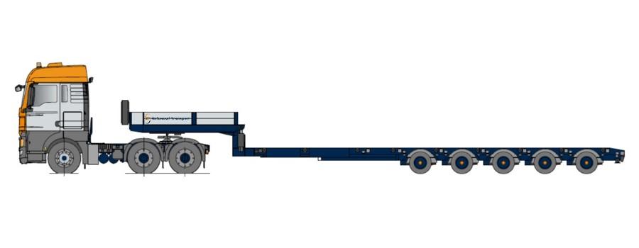 Naczepy typu Semitieflader, wieloktrotnie teleskopowy