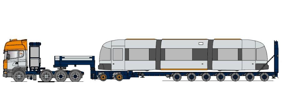 Naczepa kolejowa z osiami modułowymi i rampą hydrauliczną, wielokrotnie telespkopowa