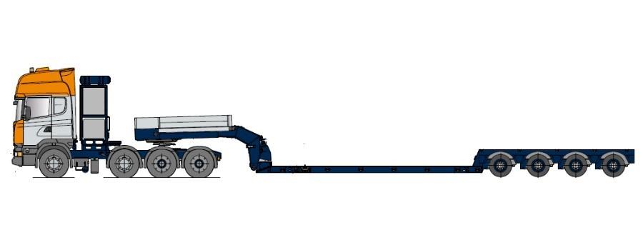 teleskopierbar Naczepa typu Tiefbett do przewozu kombajnów, teleskopowy